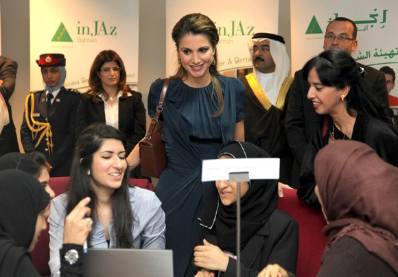 """Her Majesty meets students as part of inJAz Bahrain's """"Banks in"""